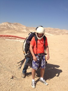 preparing for flight over Dead Sea