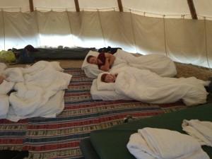 sleeping in teepees